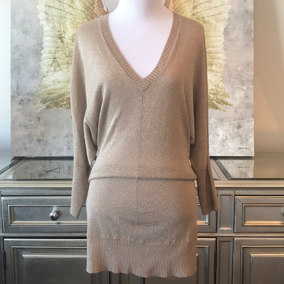 MNG Dresses & Skirts - MNG Gold knit dress size S